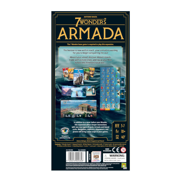 7 Wonders Armada New Edition board game back cover.