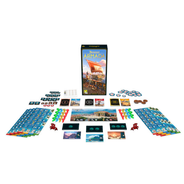 7 Wonders Armada New Edition board game back cover and components.