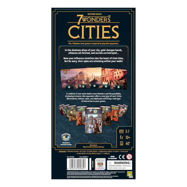 7 Wonders Cities New Edition board game back cover.