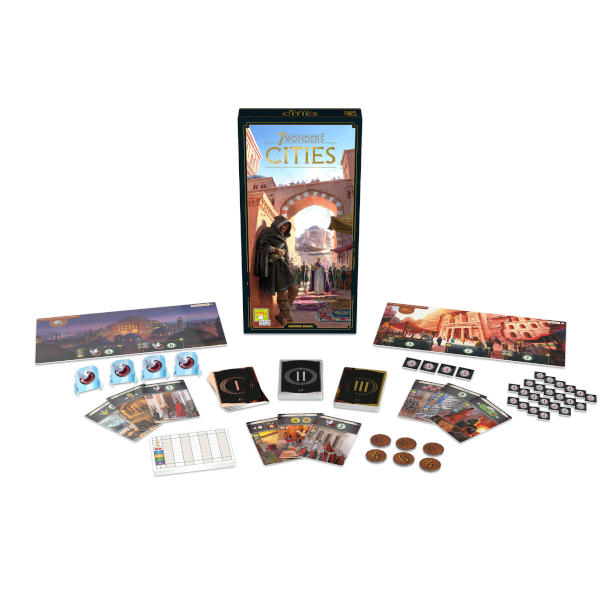 7 Wonders Cities New Edition board game back cover and components.