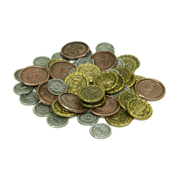 7 Wonders Metal Coins - Broken Token Wondrous coin set stack.