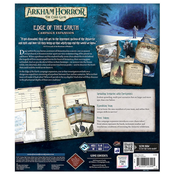 Arkham Horror LCG Edge of the Earth Campaign Expansion box back.