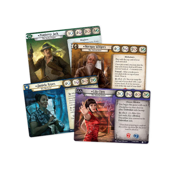 Arkham Horror LCG Edge of the Earth Investigator Expansion cards.