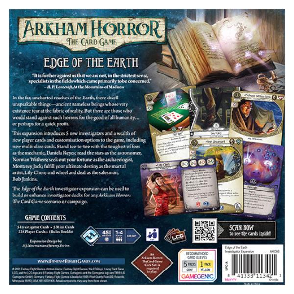 Arkham Horror LCG Edge of the Earth Investigator Expansion back of box