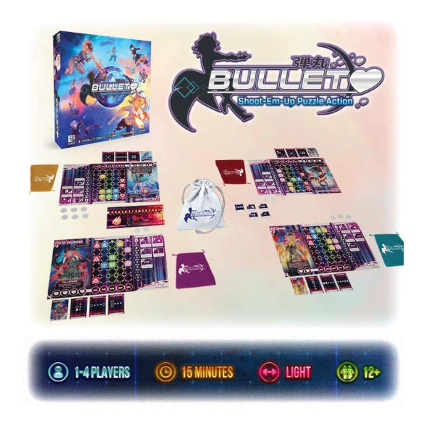 Bullet Board Game Box Components.