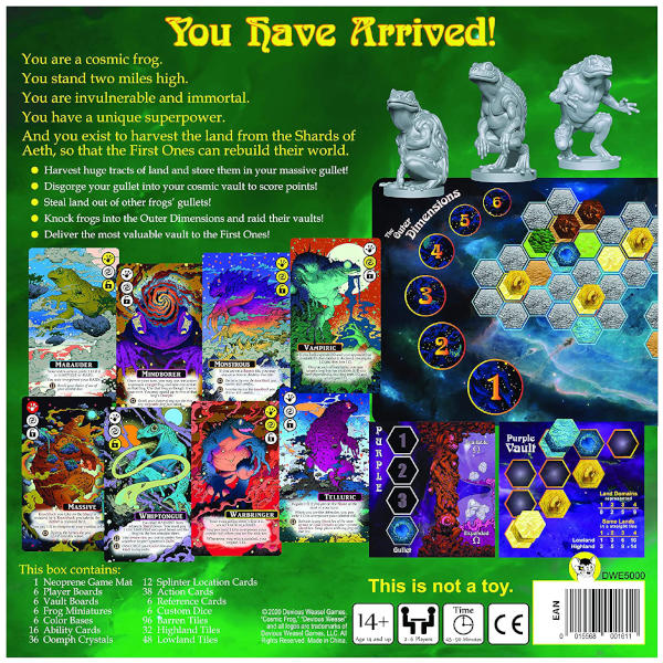 Cosmic Frog Board Game back cover.