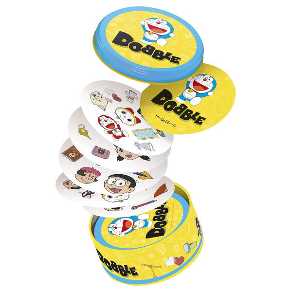 Doraemon Dobble Card Game cover and components.