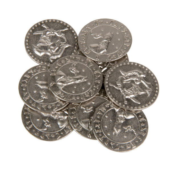Dragons Themed Gaming Coins Large 30mm (Broken Token) stack.
