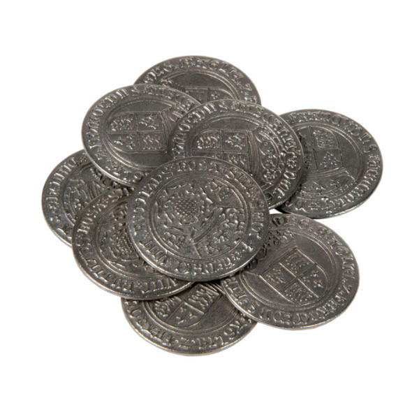 Early English Kings Themed Gaming Coins Large 30mm (Broken Token) stack.