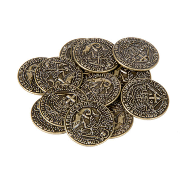 Early English Kings Themed Gaming Coins Medium 25mm (Broken Token) stack.