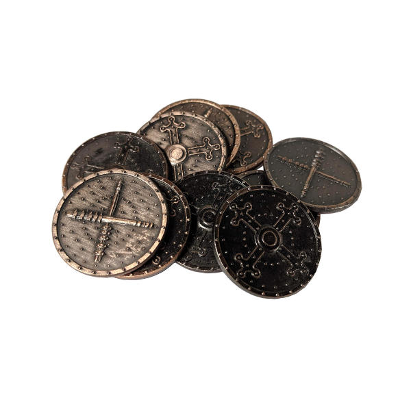 Fantasy Themed Gaming Coins Barbarian Copper (Broken Token) stack.