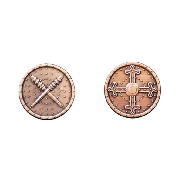 Fantasy Themed Gaming Coins Barbarian Copper (Broken Token) back and front.