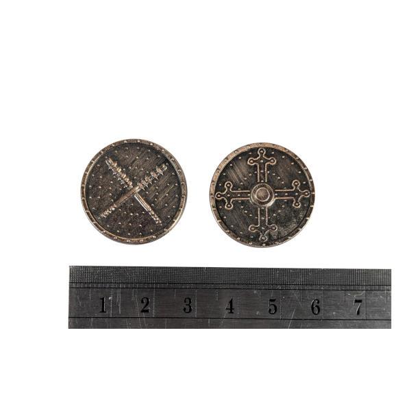 Fantasy Themed Gaming Coins Barbarian Copper (Broken Token) measurements.