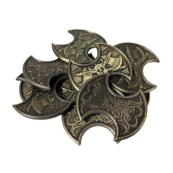 Fantasy Themed Gaming Coins Barbarian Gold (Broken Token) stack.