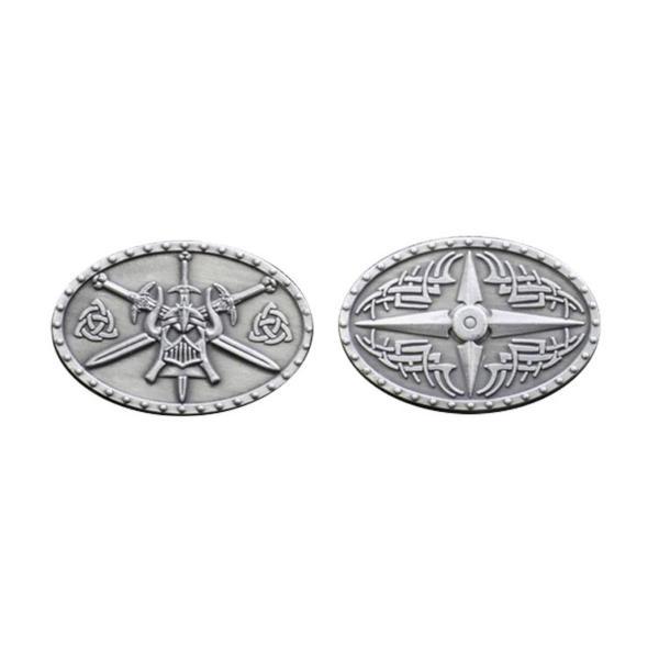 Fantasy Themed Gaming Coins Barbarian Silver (Broken Token) front and back.