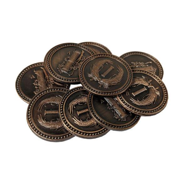 Fantasy Themed Gaming Coins Colonial Copper (Broken Token) stack.