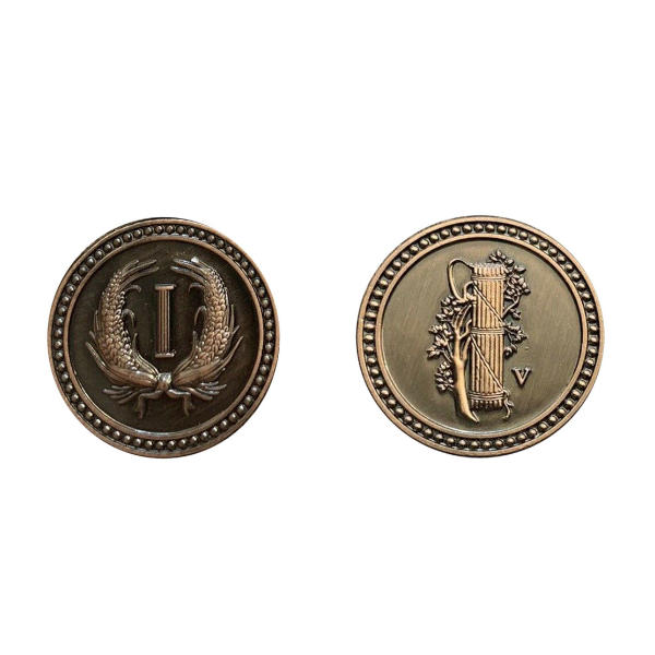 Fantasy Themed Gaming Coins Colonial Copper (Broken Token) back and front.