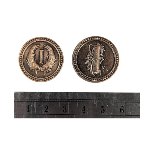 Fantasy Themed Gaming Coins Colonial Copper (Broken Token) measurements.