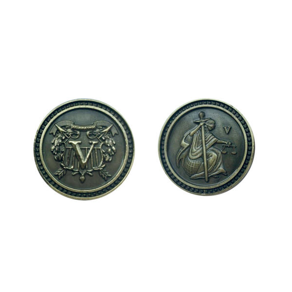 Fantasy Themed Gaming Coins Colonial Gold (Broken Token) front and back.