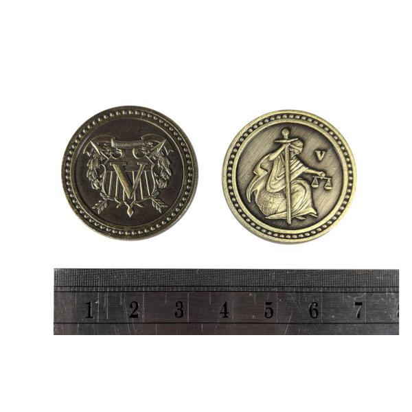 Fantasy Themed Gaming Coins Colonial Gold (Broken Token) measurements.