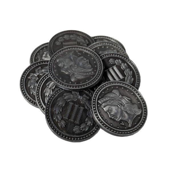 Fantasy Themed Gaming Coins Colonial Silver (Broken Token) stack.