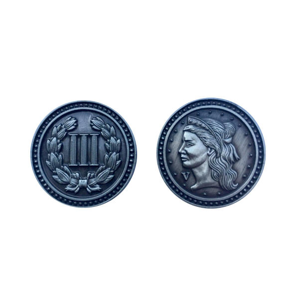 Fantasy Themed Gaming Coins Colonial Silver (Broken Token) back and front.