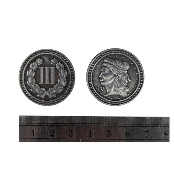 Fantasy Themed Gaming Coins Colonial Silver (Broken Token) measurements.