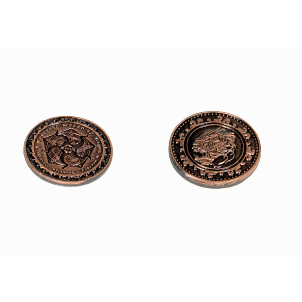 Fantasy Themed Gaming Coins Cthulhu Copper (Broken Token) front and back.