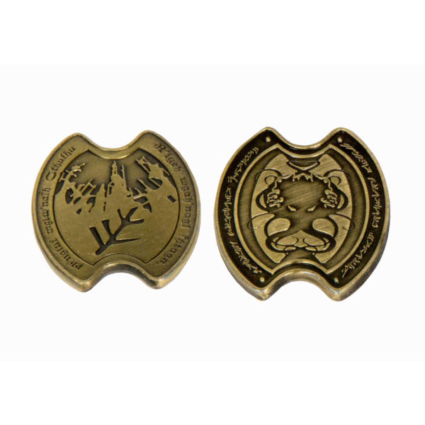 Fantasy Themed Gaming Coins Cthulhu Gold (Broken Token) front and back.