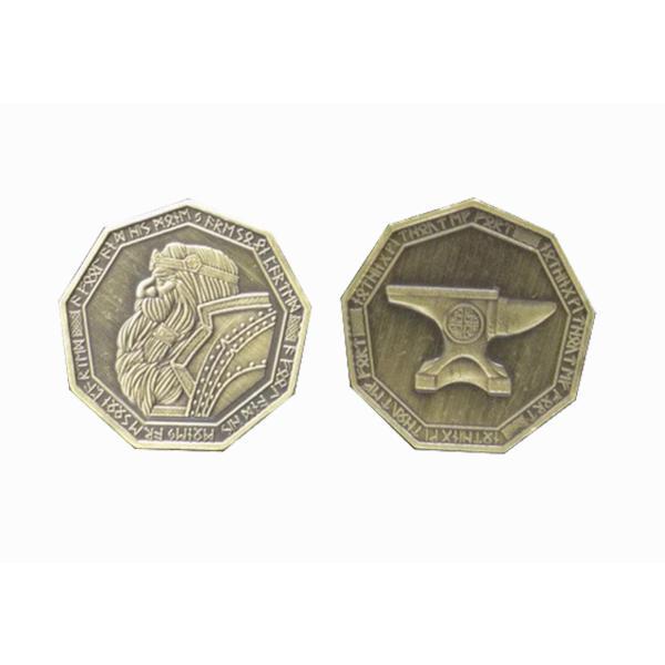 Fantasy Themed Gaming Coins Dwarven Gold (Broken Token) front and back.