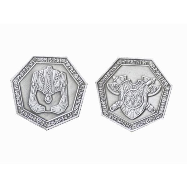 Fantasy Themed Gaming Coins Dwarven Silver (Broken Token) front and back.