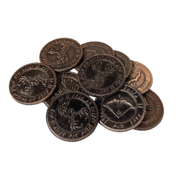 Fantasy Themed Gaming Coins Elven Copper (Broken Token) stack.