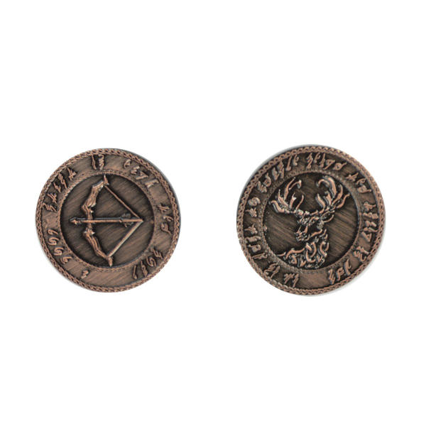 Fantasy Themed Gaming Coins Elven Copper (Broken Token) back and front.