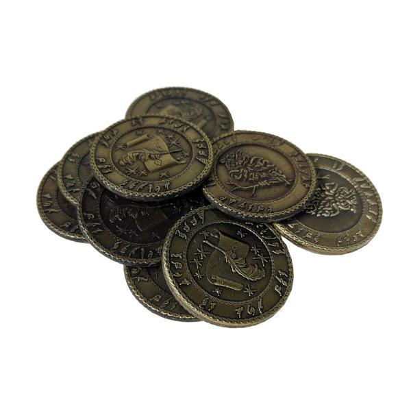 Fantasy Themed Gaming Coins Elven Gold (Broken Token) stack.