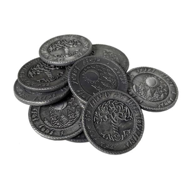 Fantasy Themed Gaming Coins Elven Silver (Broken Token) stack.