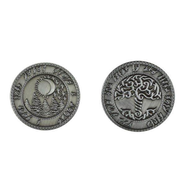 Fantasy Themed Gaming Coins Elven Silver (Broken Token) back and front.