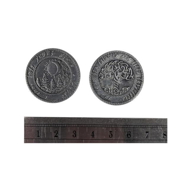 Fantasy Themed Gaming Coins Elven Silver (Broken Token) measurements.