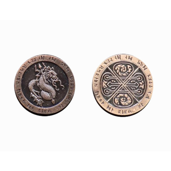 Fantasy Themed Gaming Coins Fire Copper (Broken Token) front and back.