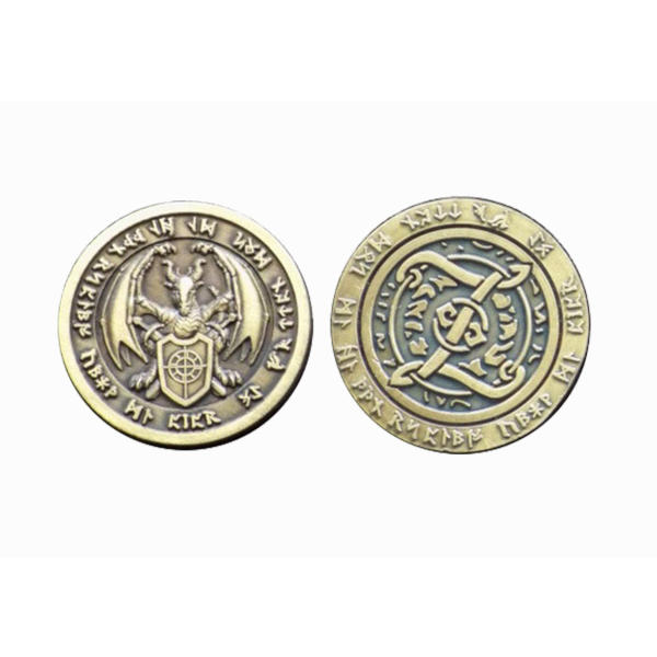 Fantasy Themed Gaming Coins Fire Gold (Broken Token) front and back.