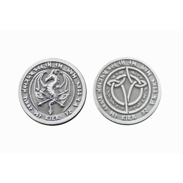 Fantasy Themed Gaming Coins Fire Silver (Broken Token) front and back.