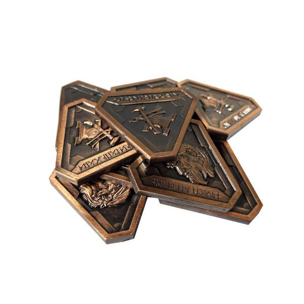 Fantasy Themed Gaming Coins Forge Master Copper (Broken Token) stack.