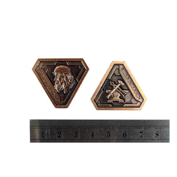 Fantasy Themed Gaming Coins Forge Master Copper (Broken Token) measurements.