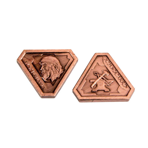 Fantasy Themed Gaming Coins Forge Master Copper (Broken Token) front and back.