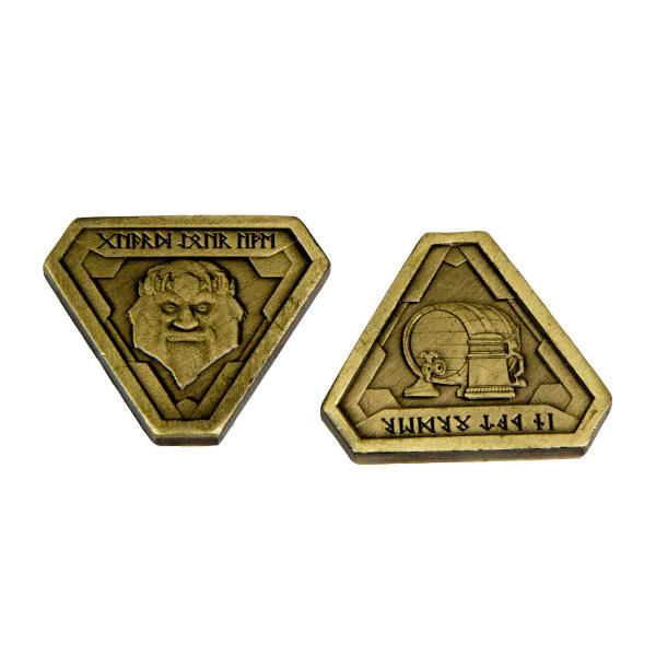 Fantasy Themed Gaming Coins Forge Master Gold (Broken Token) front and back.