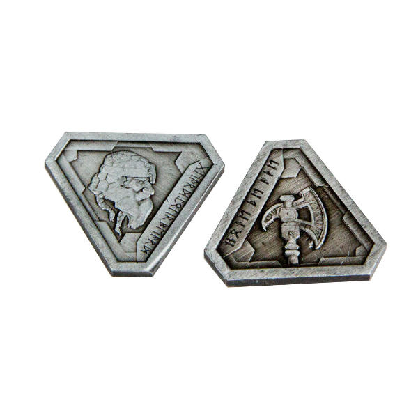 Fantasy Themed Gaming Coins Forge Master Silver (Broken Token) front and back.