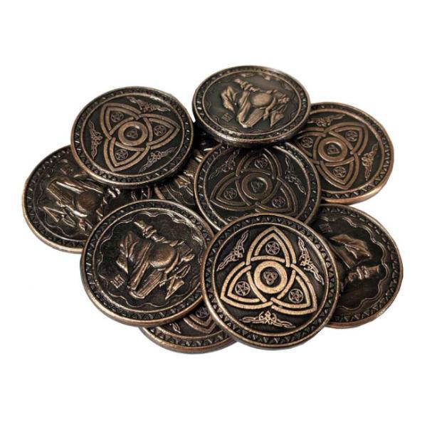 Fantasy Themed Gaming Coins Magic Copper (Broken Token) stack.
