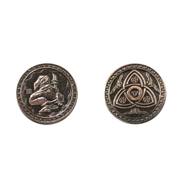 Fantasy Themed Gaming Coins Magic Copper (Broken Token) back and front.