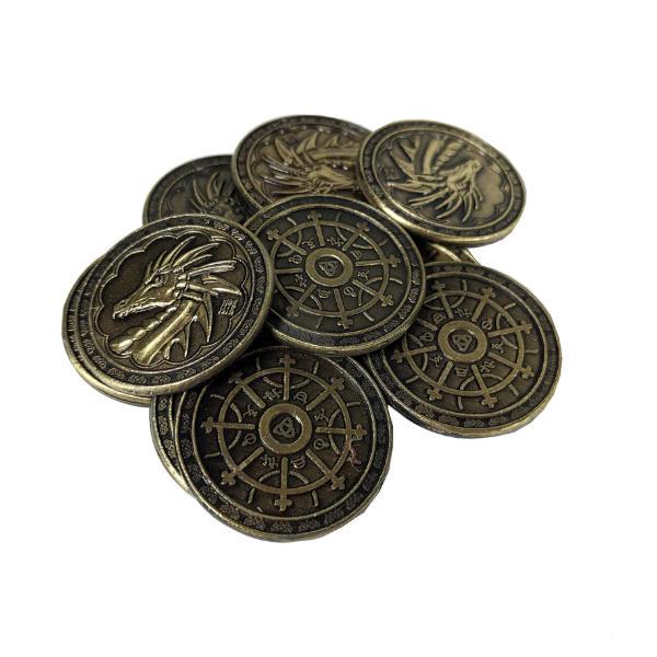 Fantasy Themed Gaming Coins Magic Gold (Broken Token) stack.
