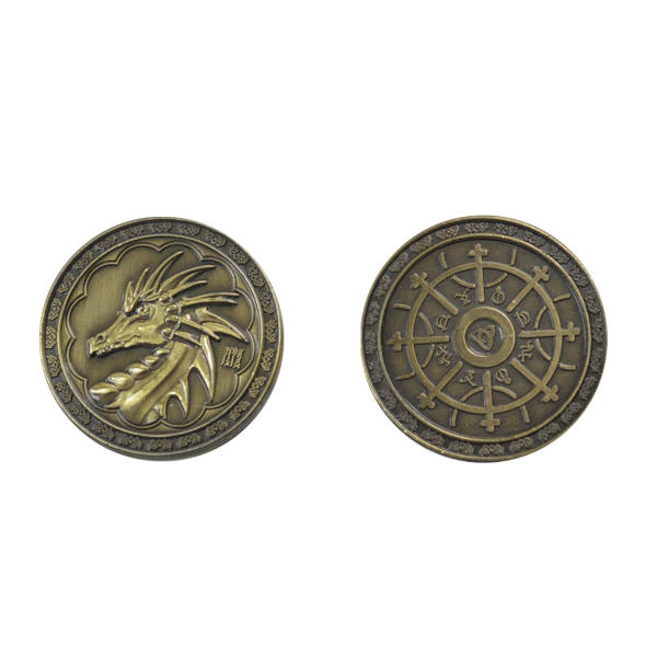 Fantasy Themed Gaming Coins Magic Gold (Broken Token) back and front.