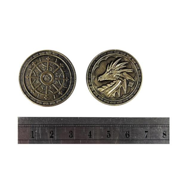 Fantasy Themed Gaming Coins Magic Gold (Broken Token) measurements.